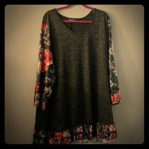 Tops - Grey and Floral Tunic
